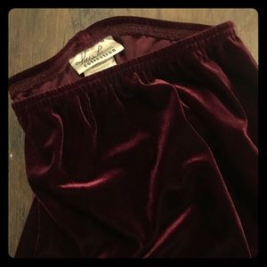 Long Red Velvet Skirt